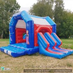 Le Frozen - château gonflable - couvert - double toboggan - occasion